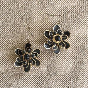 Floral Black Enamel Earrings